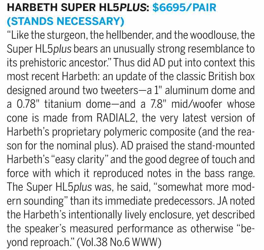 SHL5 Plus in Stereophile Recommended Components