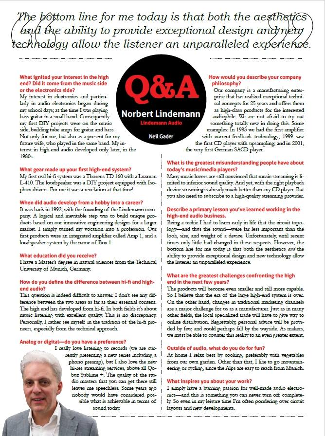 Norbert Lindemann interview in The Absolute Sound
