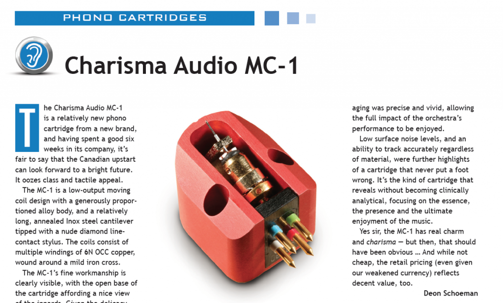 Audio Video Magazine test Charisma Audio MC-1